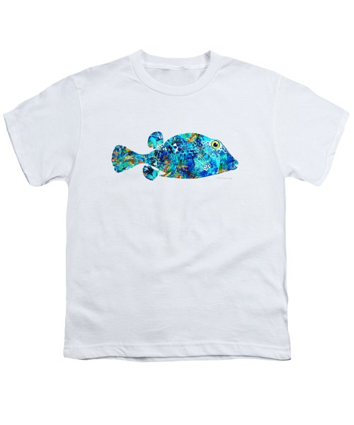 Blue Puffer Fish Art By Sharon Cummings Youth T-Shirt by Sharon Cummings