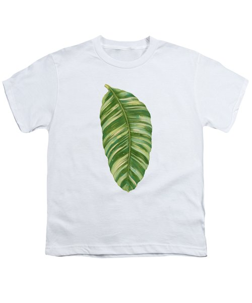 Rainforest Resort - Tropical Leaves Elephant's Ear Philodendron Banana Leaf Youth T-Shirt