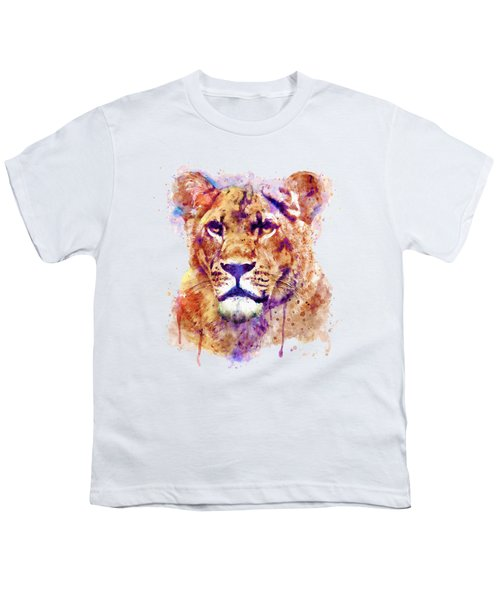 Lioness Head Youth T-Shirt by Marian Voicu