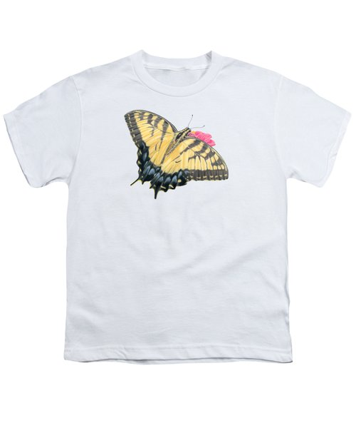 Swallowtail Butterfly And Zinnia- Transparent Backgroud Youth T-Shirt