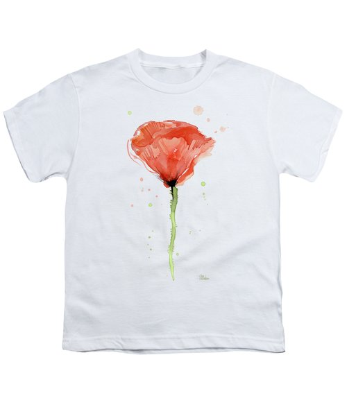 Abstract Red Poppy Watercolor Youth T-Shirt