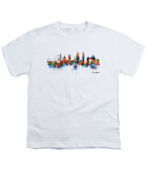 London Watercolor Skyline Silhouette Youth T-Shirt