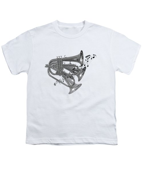 Trumpet Fanfare Black And White Youth T-Shirt