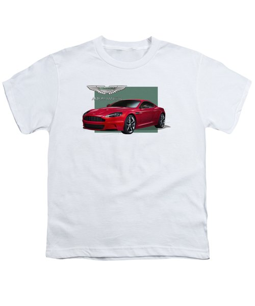 Aston Martin  D B S  V 12  With 3 D Badge  Youth T-Shirt by Serge Averbukh