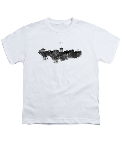 Athens Black And White Skyline Youth T-Shirt by Marian Voicu