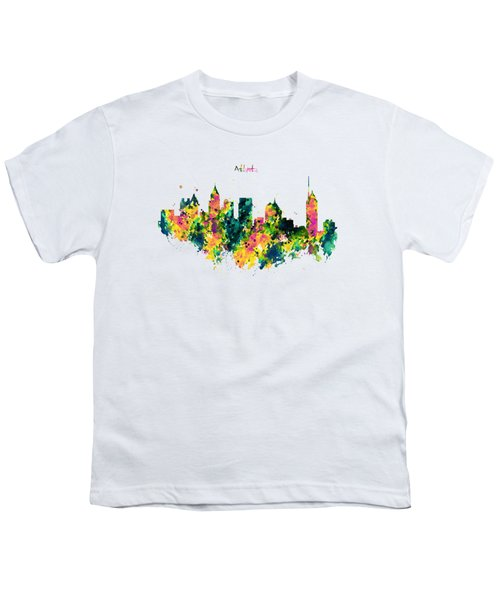 Atlanta Watercolor Skyline  Youth T-Shirt by Marian Voicu