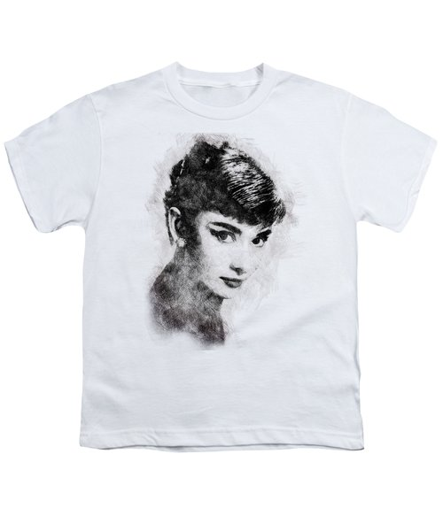 Audrey Hepburn Portrait 03 Youth T-Shirt by Pablo Romero