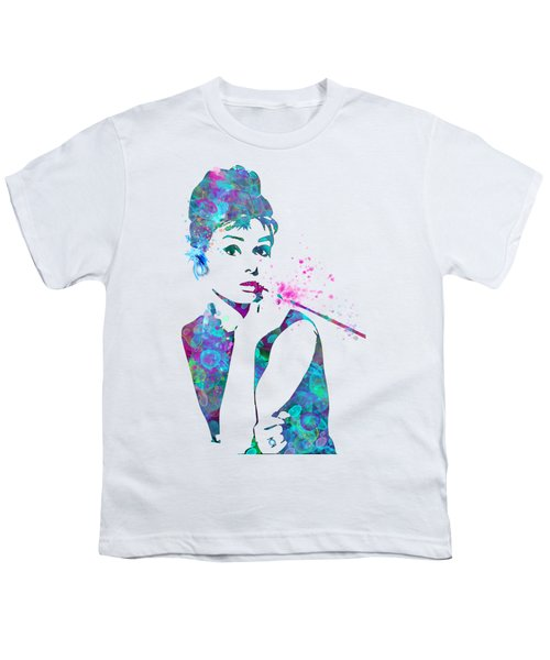 Audrey Hepburn Watercolor Pop Art  Youth T-Shirt by Mary Alhadif