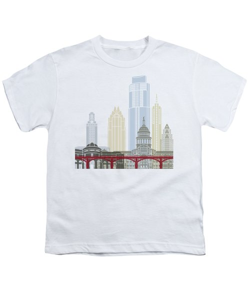 Austin Skyline Poster Youth T-Shirt by Pablo Romero