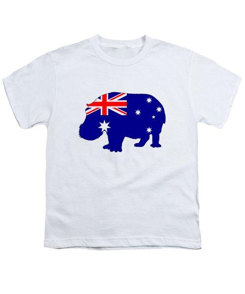 Australian Flag - Hippopotamus Youth T-Shirt by Mordax Furittus