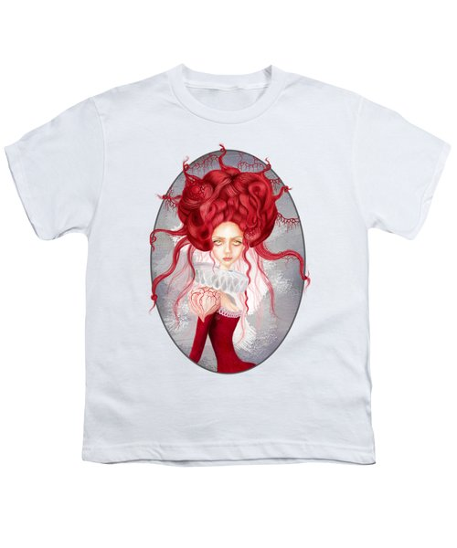 Youth T-Shirt featuring the drawing Autumn by Julia Art