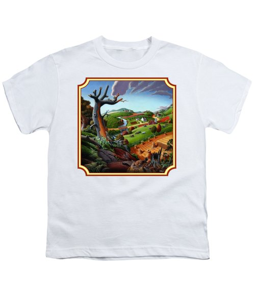 Autumn Wheat Harvest Country Farm Life Landscape - Square Format Youth T-Shirt