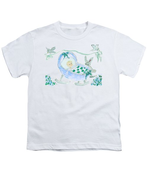 Baby Boy With Bunny And Birds Youth T-Shirt