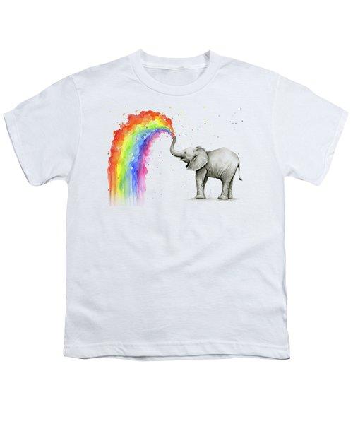 Baby Elephant Spraying Rainbow Youth T-Shirt