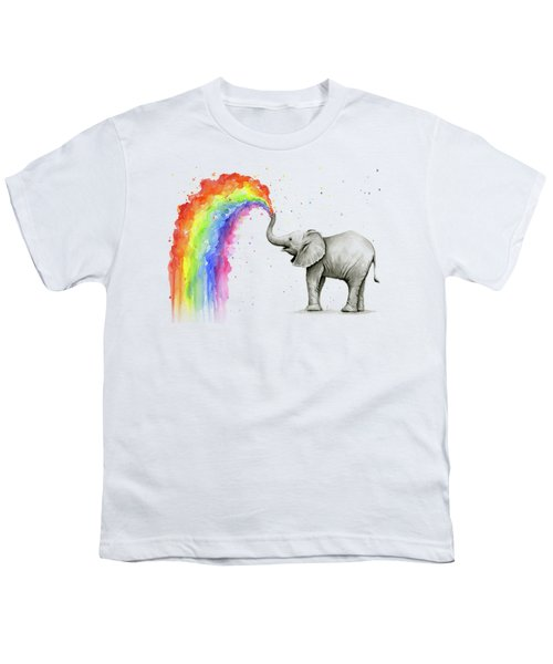 Baby Elephant Spraying Rainbow Youth T-Shirt