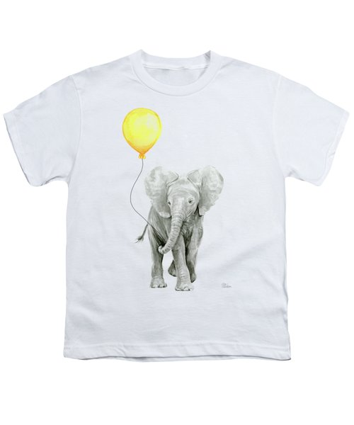 Baby Elephant Watercolor With Yellow Balloon Youth T-Shirt
