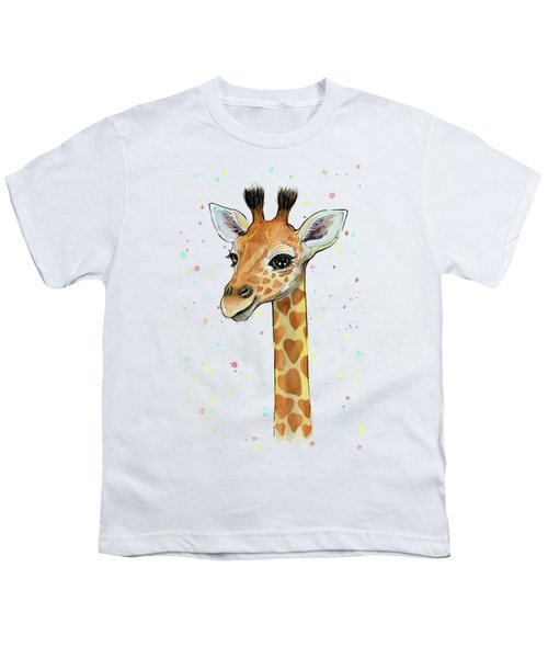 Baby Giraffe Watercolor With Heart Shaped Spots Youth T-Shirt by Olga Shvartsur