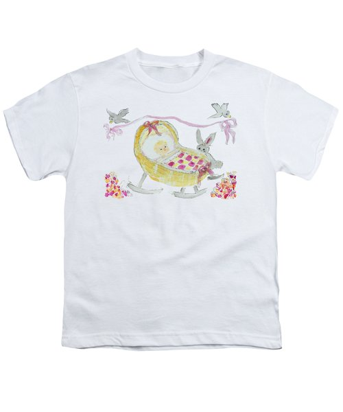Baby Girl With Bunny And Birds Youth T-Shirt
