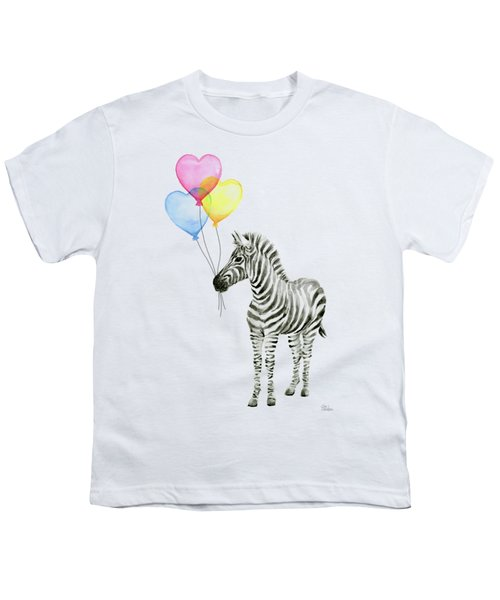 Baby Zebra Watercolor Animal With Balloons Youth T-Shirt