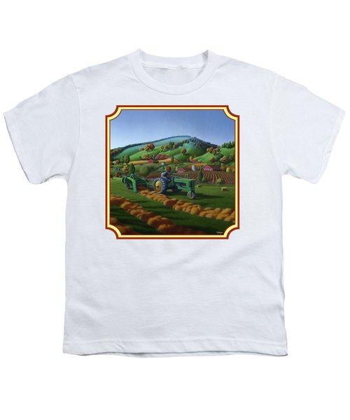Baling Hay Field - John Deere Tractor - Farm Country Landscape Square Format Youth T-Shirt
