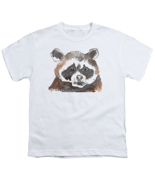 Bandit Raccoon Youth T-Shirt by Kathleen McElwaine
