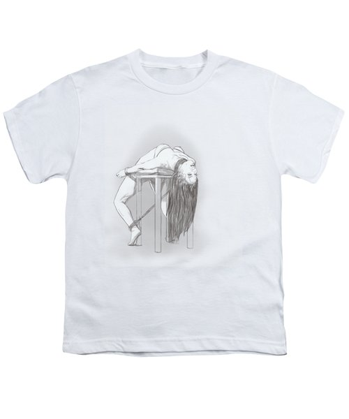 Youth T-Shirt featuring the mixed media Bar Chair Bw by TortureLord Art