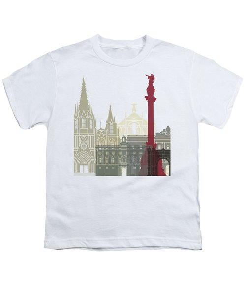 Barcelona Skyline Poster Youth T-Shirt by Pablo Romero