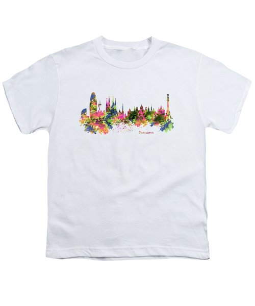 Barcelona Watercolor Skyline Youth T-Shirt by Marian Voicu