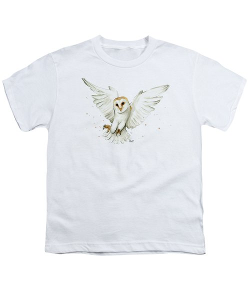 Barn Owl Flying Watercolor Youth T-Shirt