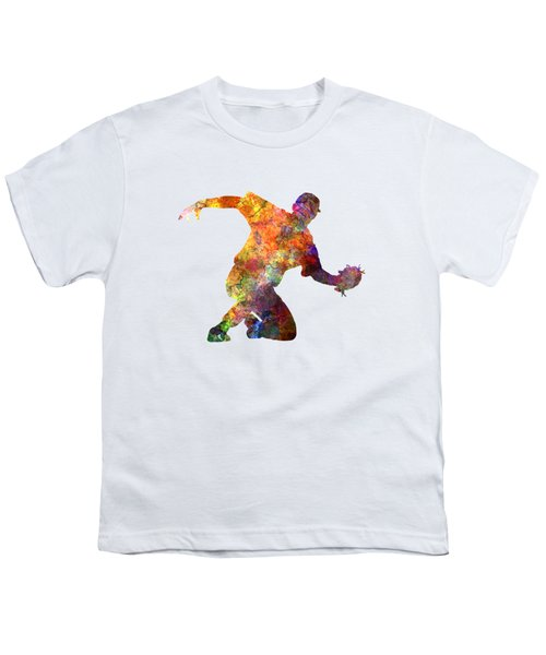 Baseball Player Catching A Ball Youth T-Shirt by Pablo Romero