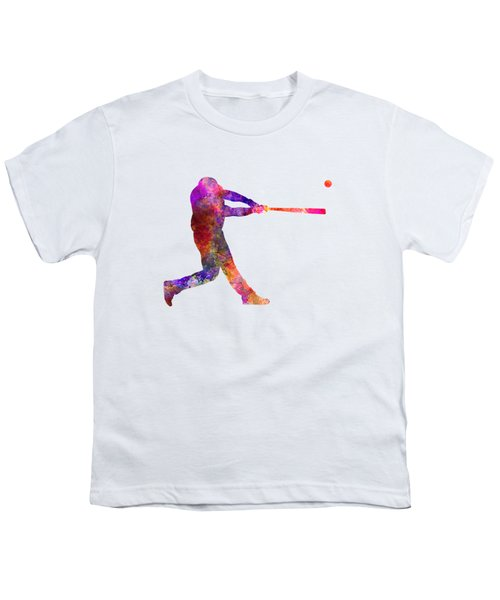 Baseball Player Hitting A Ball 01 Youth T-Shirt by Pablo Romero