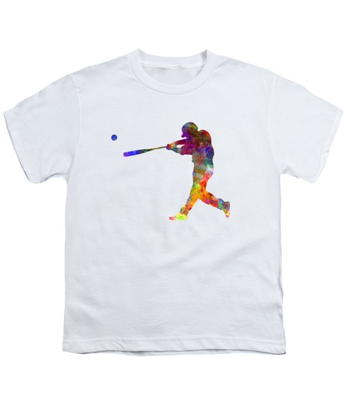 Baseball Player Hitting A Ball 02 Youth T-Shirt by Pablo Romero