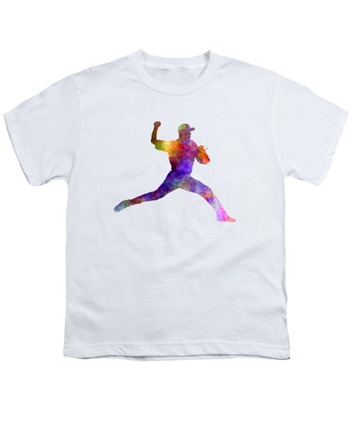 Baseball Player Throwing A Ball 01 Youth T-Shirt by Pablo Romero