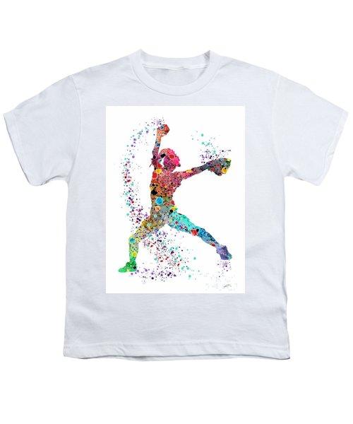 Baseball Softball Pitcher Watercolor Print Youth T-Shirt by Svetla Tancheva