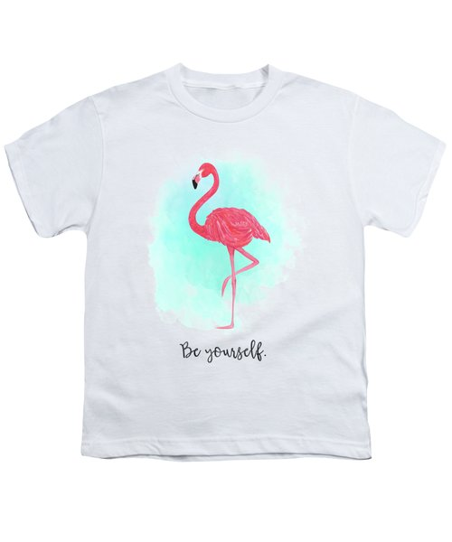 Be Yourself Flamingo Print Youth T-Shirt by Donna Gilbert
