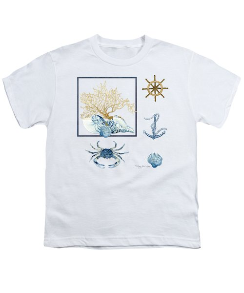 Beach House Nautical Seashells Ships Wheel Anchor N Crab Youth T-Shirt