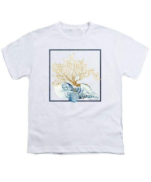 Beach House Nautilus Scallop N Conch With Tan Fan Coral Youth T-Shirt
