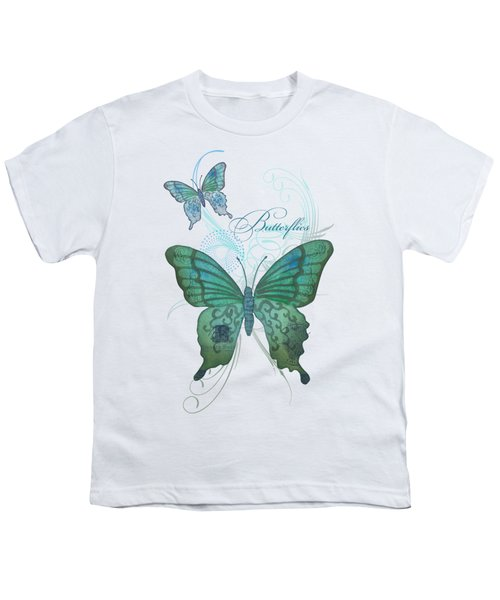Beautiful Butterflies N Swirls Modern Style Youth T-Shirt by Audrey Jeanne Roberts