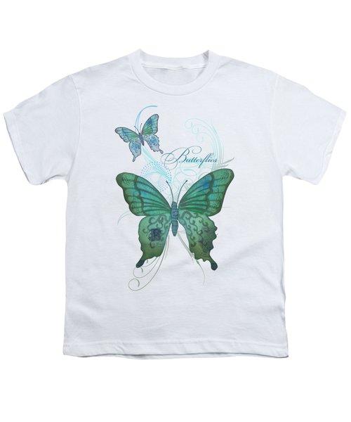 Beautiful Butterflies N Swirls Modern Style Youth T-Shirt