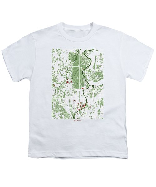 Berlin Minimal Map Youth T-Shirt by Jasone Ayerbe- Javier R Recco