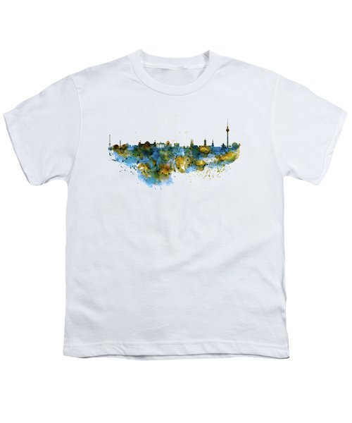 Berlin Watercolor Skyline Youth T-Shirt by Marian Voicu