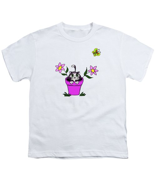 Big Eyed Kitten In Flower Pot Youth T-Shirt by Lorraine Kelly