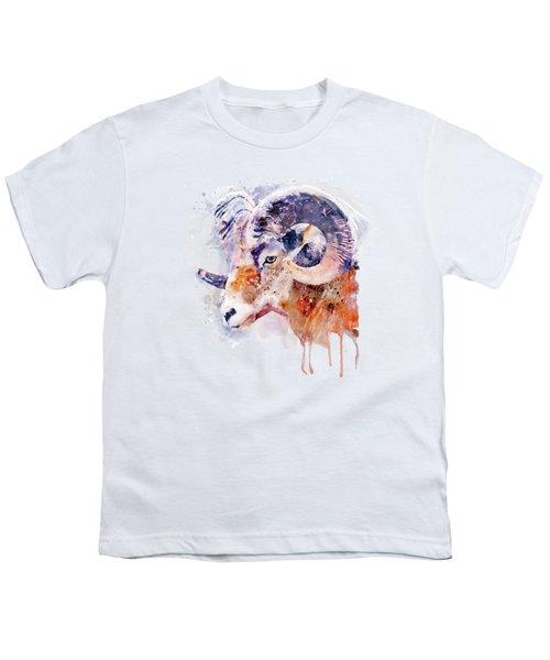 Bighorn Sheep Watercolor Portrait Youth T-Shirt
