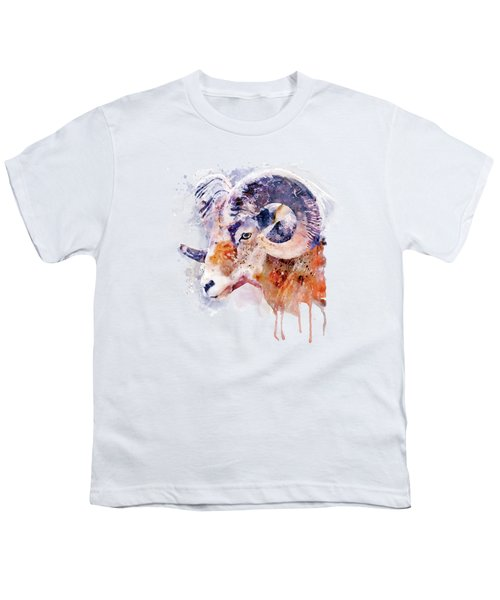 Bighorn Sheep Watercolor Portrait Youth T-Shirt