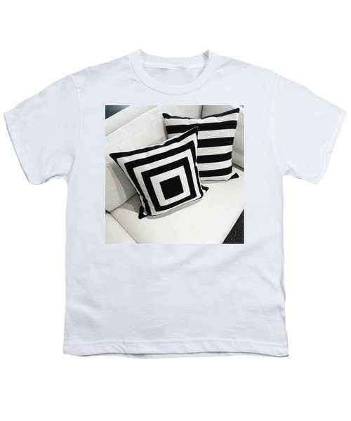 Black And White Cushions On A Sofa Youth T-Shirt