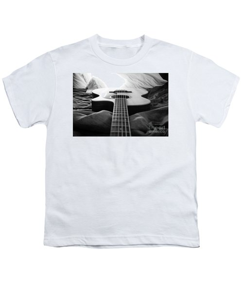 Youth T-Shirt featuring the photograph Black And White Guitar by MGL Meiklejohn Graphics Licensing