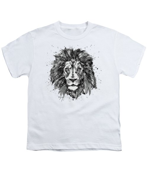 Black And White Lion Head  Youth T-Shirt by Marian Voicu