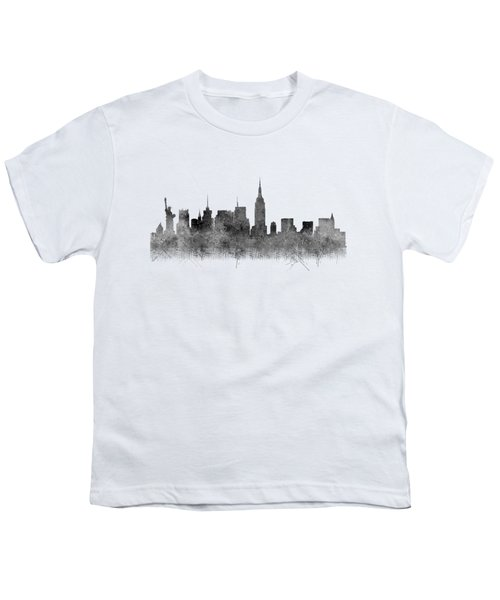Youth T-Shirt featuring the digital art Black And White New York Skylines Splashes And Reflections by Georgeta Blanaru