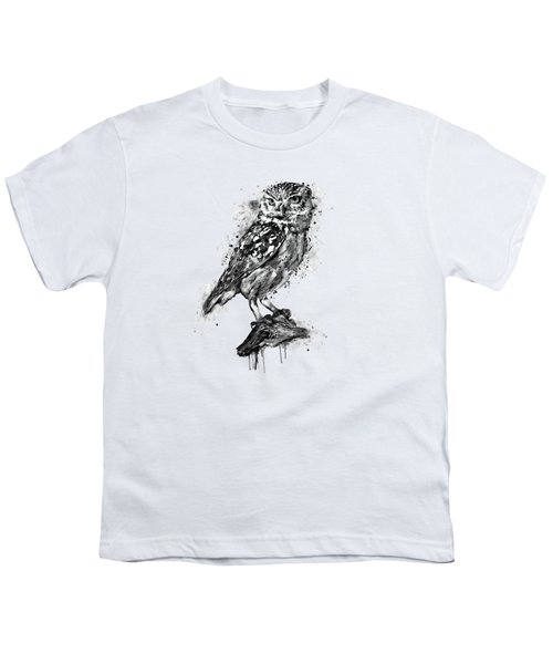 Black And White Owl Youth T-Shirt by Marian Voicu