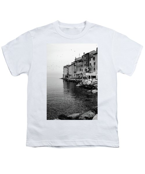 Black And White - Rovinj Venetian Buildings And Adriatic Sea, Istria, Croatia Youth T-Shirt